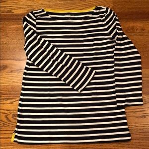 Classic Talbots Navy Striped Vented 3/4 Sleeve T
